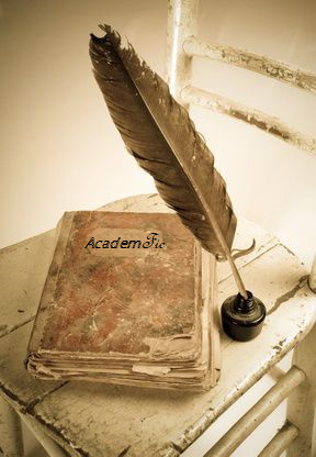 """An old book with """"AcademFic"""" written on the cover"""